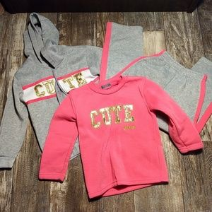 "3 Piece ""Cute"" Sweat Suit Outfit"